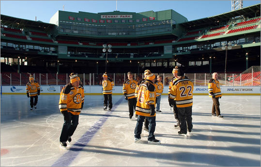 The ice rink at Fenway Park being built for the NHL's Winter Classic was ready to be tested on Friday, so Bruins greats from days gone by were enlisted to do the honors. The Bruins will play the Flyers Jan. 1 in the annual outdoor game. For full story go here .