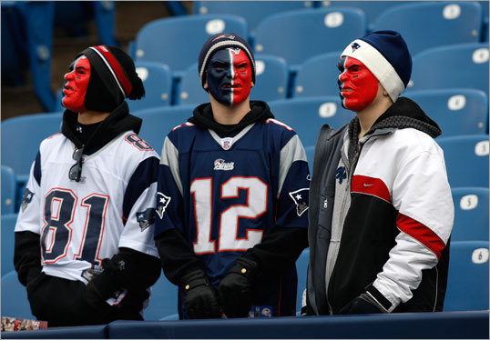 These Patriots fans waited for the game to start.