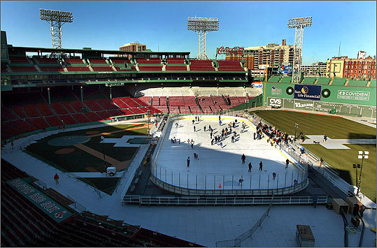 A far-from-summery Fenway Park, the site of a free public skate on Jan. 3 and Jan. 10.