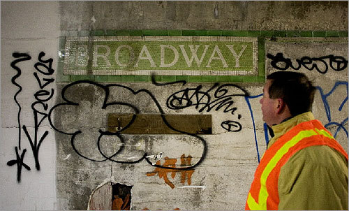 Former MBTA General Manager Michael Mulhern talks about the sign for the old Broadway middle level tunnel.