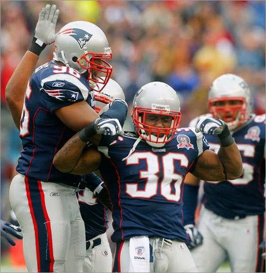 Patriots safety James Sanders (36) celebrates after stopping Jacksonville Jaguars running back Maurice Jones-Drew on a fourth-and-one to force a first-quarter turnover.