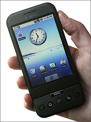 In this Sept. 23, 2008 file photo, the T-Mobile G1 Android-powered phone, the first cell phone with the operating system designed by Google Inc., is shown in New York.