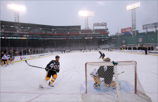 The Bruins held a practice, outdoors and in the snow, at Fenway Park on Thursday to prepare for Friday's Winter Classic against the Philadelphia Flyers.
