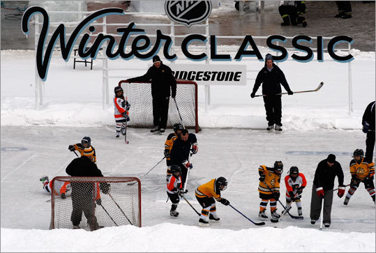 A mini-rink was installed in center field and two youth teams played on it -- wearing Bruins and Flyers sweaters -- before the Winter Classic.
