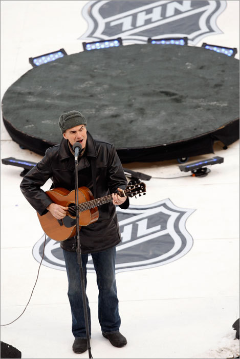 James Taylor sang the National Anthem.