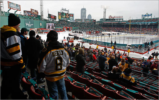 These Bruins fans had great seats for a baseball game. For a hockey game -- we'll see.