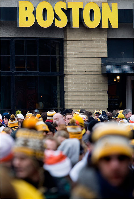 Bruins fans filled Yawkey Way -- a space usually reserved for Sox fans on warm summer nights -- before Friday's Winter Classic game between the Bruins and Flyers.