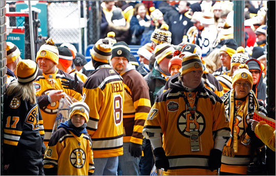 Bruins fans waited patiently to be let into the park. The gates opened at 11 a.m.