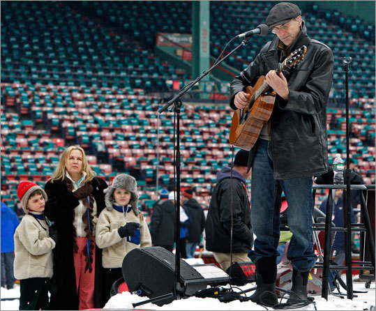 Singer James Taylor rehearsed on the stage before the Winter Classic. Taylor was scheduled to sing the U.S. National Anthem.