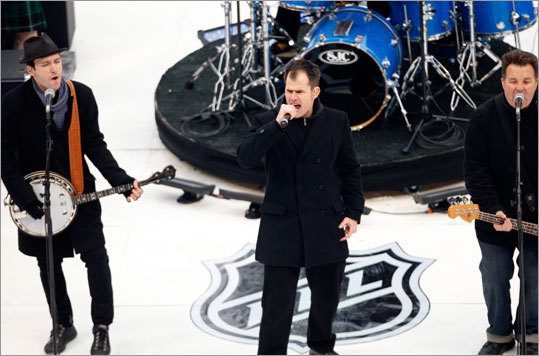 The Dropkick Murphys performed on a stage shaped like a home plate before the start of the Winter Classic.