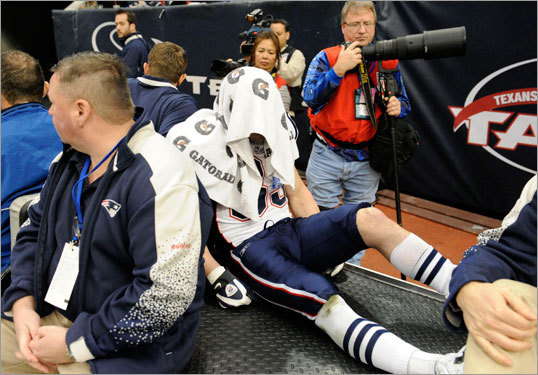 Welker was carted off the field at Houston's Reliant Stadium.