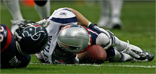 Welker clutched his knee immediately after the play. It appeared Welker's left leg bent the wrong way when he planted it, before any contact with a Houston defender.