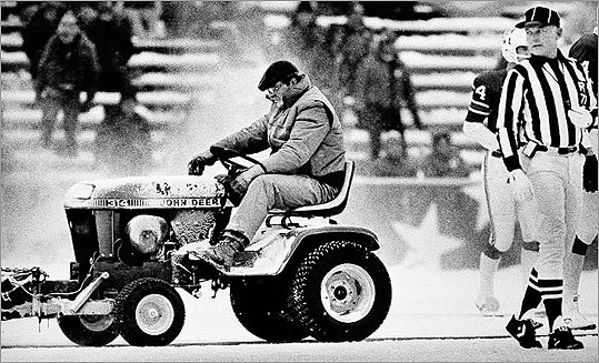 Mark Henderson, a convict on work release, cleared snow Dec.13, 1982 at Schaefer Stadium in Foxborough. Henderson was involved in a controversial play in the fourth quarter when he plowed an area where Patriot kicker John Smith hit the winning field goal.