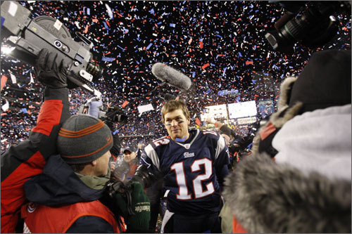 Jan. 20, 2008: Patriots 21, Chargers 12 Brady connected on 22 of 33 passes, including two touchdowns, in the 2008 AFC Championship game over the San Diego Chargers. He did throw three interceptions.