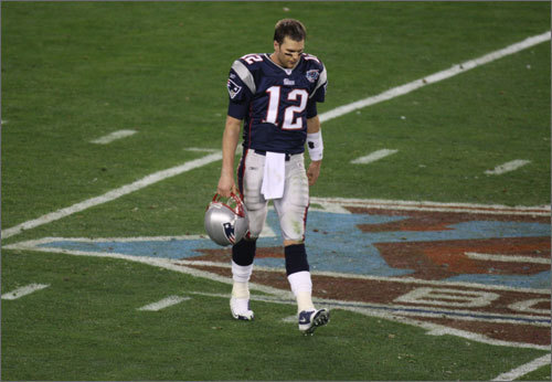 A stunning defeat Brady's last Super Bowl appearance was Feb. 4, 2008 in Glendale, Ariz., in Super Bowl XLII. The Giants stunned the Patriots, who entered the game with an 18-0 record, by a 17-14 score. Brady went 29 for 48 with 266 yards, but he was sacked five times, more than he had been in any other game during the team's perfect regular season.