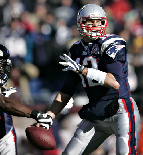 Ravens linebacker Terrell Suggs stripped quarterback Tom Brady on the Patriotss first offensive play of the game.