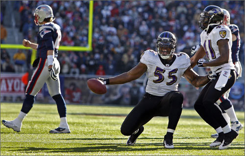 Terrell Suggs celebrated after forcing, and recovering, a fumble on the Patriots first play from scrimmage.