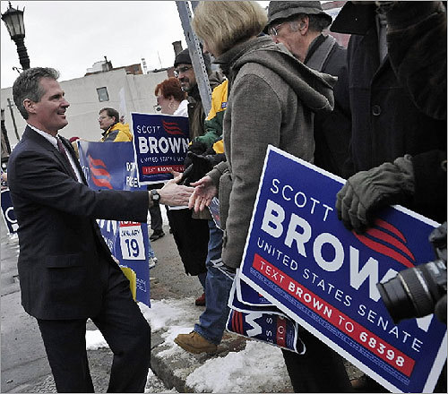 On Jan. 8, Brown greeted supporters outside the studios of WGBY-TV in Springfield prior to a televised debate.