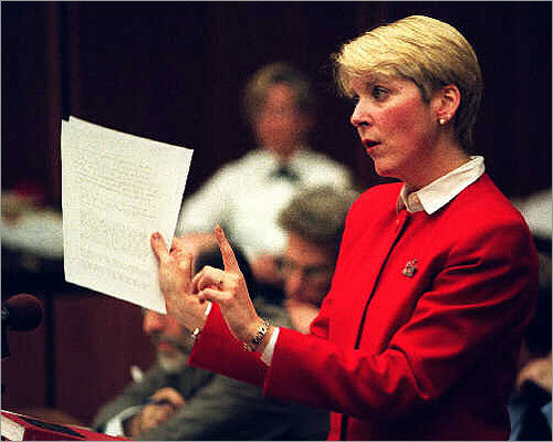 In 1997, then chief of the Child Abuse Prosecution Unit, Martha Coakley catapulted her career during the Louise Woodward trial. Woodward, a 19-year-old British nanny, was accused of shaking 8-month-old Matthew Eappen of Newton to death. Coakley and lead prosecutor Gerard T. Leone Jr. persuaded the jury to convict Woodward of second-degree murder. But the judge reduced the charge to manslaughter and freed her.