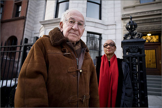 Jerome and Bernadette Wodinsky stood outside their home on Commonwealth Avenue.