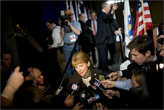 Massachusetts Attorney General Martha Coakley, a Democrat, speaks to media after a debate at the University of Massachusetts Boston Campus Center on Jan. 11, 2010.