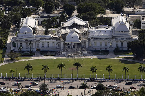 The Haitian Presidential Palace was heavily damaged.