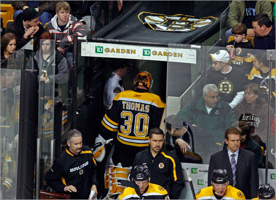 It just wasn't their day. Bruins starting goalie Tim Thomas was pulled in the second period after giving up three goals to the Ottawa Senators. The Bruins lost Monday afternoon at TD Garden, 5-1.