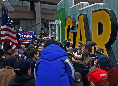 Brown campaigned outside of the TD Garden before the Bruins-Senators game.