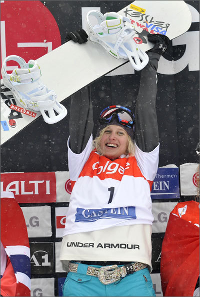 NE Connection: A 2006 silver medalist from Stratton Mountain in Vermont, Jacobellis is one of the elite athletes in snowboarding. Bio: Jacobellis competes in the snowboardcross event, a multi-participant snowboarding race that debuted at the 2006 Winter Olympics. She's won gold at every Winter X Games event since 2003, with the exception of a silver place finish in 2007. Website: Jacobellis' official site