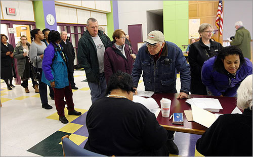 Voters lined up to cast their ballots in Wrentham, hometown of Republican candidate Scott Brown.
