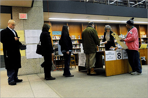 Voters stood in line at the polls at the Boston Public Library.