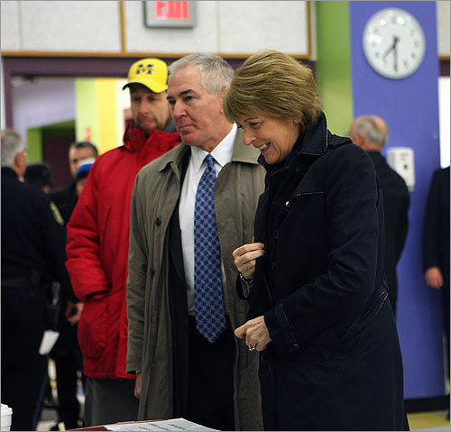 Coakley turned in her ballot.