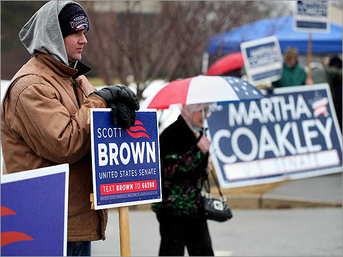 Marc D'Agostino didn't let the bad weather stop him from voting at Marshfield High School.