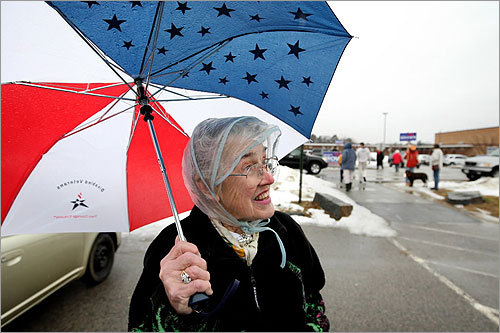 Virginia Gaffey didn't let the snow stop her, either. Gaffey voted at Marshfield High School.