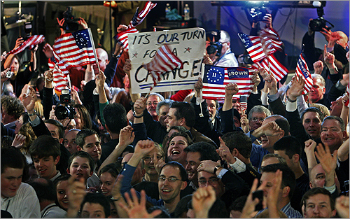Jubilant Brown supporters cheered at the Park Plaza Hotel in Boston as it became apparent Brown had won the election.