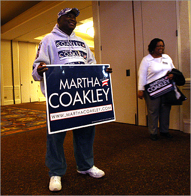 Emmanuel Gaisey of Dorchester waited for results at Martha Coakley's election night party at the Sheraton Boston Hotel.