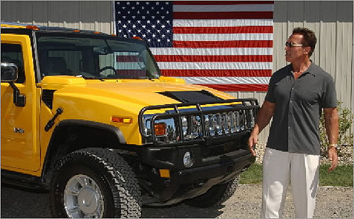 California Governor Arnold Schwarzenegger is a longtime fan of Hummer SUVs. But after coming under criticism for driving a gas guzzler, Schwarzenegger decided to retool one of his Hummers to run on alternative fuels.