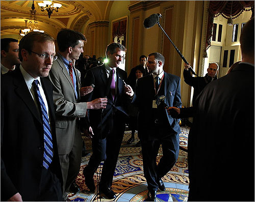 Brown had reporters in tow while visiting Washington.