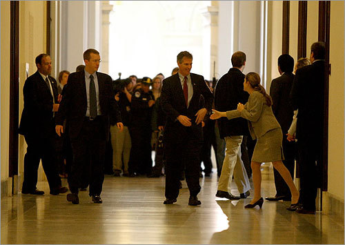 Brown received a warm welcome when he arrived at the Russell Senate Office Building.