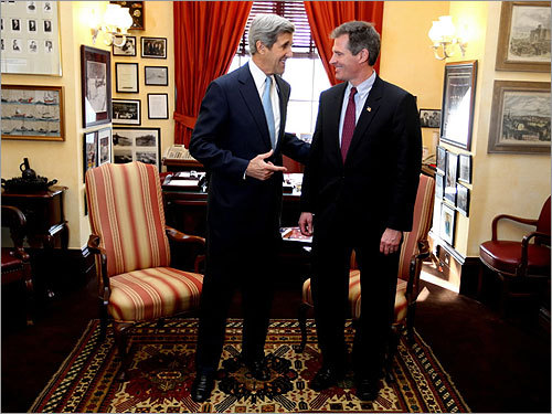 Brown met with his fellow Massachusetts senator, John Kerry, in Kerry's office. Kerry playfully suggested that they would compete in a triathlon once his hip healed from a recent surgery.