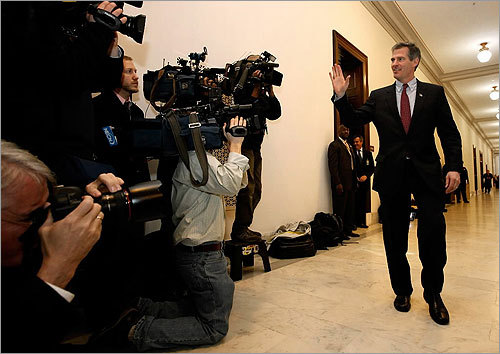 Under the scrutiny of the media, US Senator-elect Scott Brown waved to the press as he arrived on Capitol Hill to meet with key lawmakers in the Russell Senate Office Building.