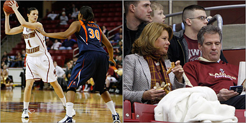 After a long couple of days, the senator-elect and his wife, Gail Huff, relaxed at the Boston College women's basketball game back home in Massachusetts. Their daughter Ayla (far left) was playing for the Eagles against Virginia.
