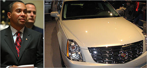 Shortly after taking office, Massachusetts Governor Deval Patrick drew criticism when he decided to lease a Cadillac DTS as his official car rather than the less-expensive Chrysler 300C offered to him by the State Police.
