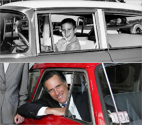 Former Massachusetts Governor Mitt Romney has always had an affinity for the Rambler. Romney's father, George Romney, was chairman of American Motors Corp., which produced the Rambler. Above, an 11-year-old Romney in his father's Rambler. Below, Romney in 2005 inside a 1961 Rambler.