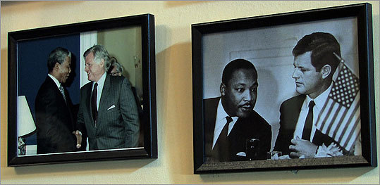 Ted Kennedy posed for pictures with many well-known figures including Nelson Mandela (left) and Martin Luther King, Jr. (right).
