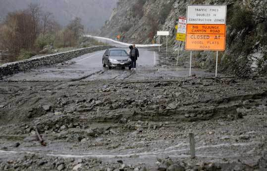 A superstorm would probably cause mudslides much worse than the one that blocked a California canyon road last week.