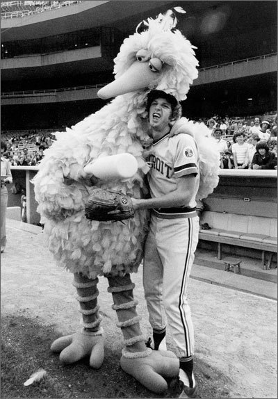Mark Fidrych Bird, famous for his odd mannerisms on the mound, including talking to the ball, was nicknamed for the Sesame Street character he resembled, Big Bird. His short major-league career was spent entirely with the Detroit Tigers, where he went 19-9 as a rookie and 29-19 from 1976 to 1980. Fidyrch, who was from Worcester, attempted a comeback in the 1980s with the Red Sox farm system and played for Triple A Pawtucket. Fidrych passed away in 2009 when he suffocated under a dump truck he had been working on at his Northborough home.