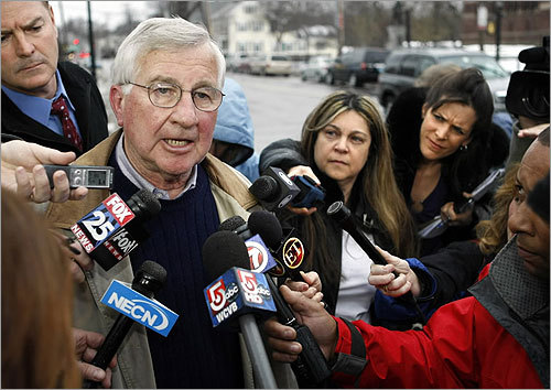 Jim Day, family friend of the Kerrigan family, spoke to media outside the Woburn District Court after Kerrigan's arraignment.