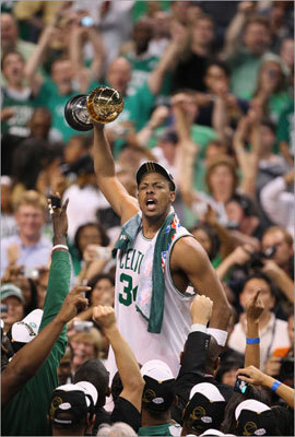 Game 6, 2008 --The culmination In the 108th game of their season, the Celtics played like it was their first. Showing that no Celtics team ever played as hard as this unit in each and every game, the Celtics routed the Lakers, 131-92, to win their 17th NBA championship. It was the largest margin of victory in a Finals-clinching game, but it was more than that. It was utter domination, the end of a 22-year losing streak, and validation for the new Big Three. It was bliss.