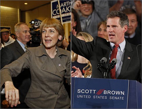 Massachusetts attorney general and former Democratic candidate for Senate, Martha Coakley (left) and state Senator and Republican candidate for Senate, Scott Brown. Brown was the victor in last Tuesday's special election.